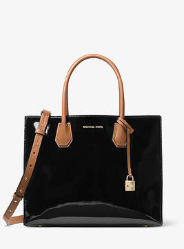 Michael Kors Mercer Large Color-Block Patent Leather Tote - BLACK - STYLE