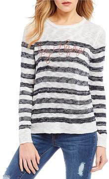 Copper Key Striped Hey There Embroidered Sweater