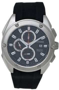 Citizen Men's 43mm Black Rubber Band Titanium Case S. Sapphire Eco-Drive Chronograph Watch CA0210-00E