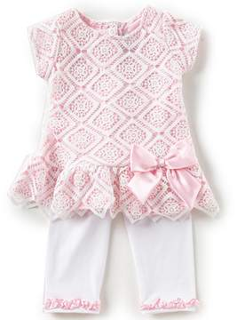 Rare Editions Little Girls 2T-6X Lace Bow Top & Leggings Set