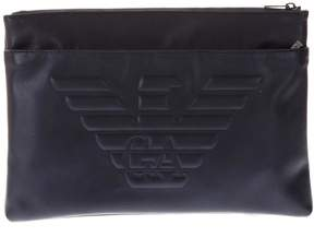 Emporio Armani Blue Male Bag With Embossed Logo