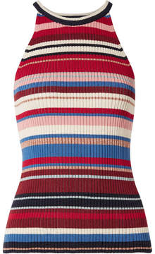 Eleven Paris SIX - Lia Striped Ribbed Stretch-pima Cotton Tank - Red