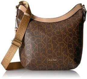 Calvin Klein Hudson Monogram Messenger Bag, Brown/Khaki Saffiano