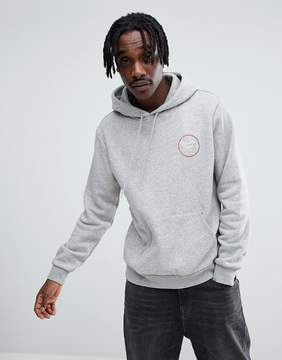Brixton Wheeler Hoodie With Back Print In Gray