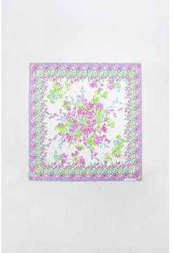 Christian Dior Pre-owned Cream Pink Green Silk Floral Print Square Scarf.