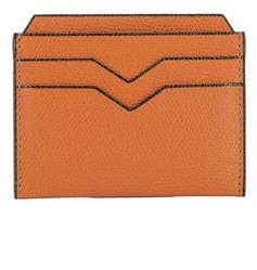 Valextra Women's Orange Leather Card Holder.