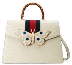 Gucci Falena Moth Ostrich Leather Satchel - White - WHITE - STYLE