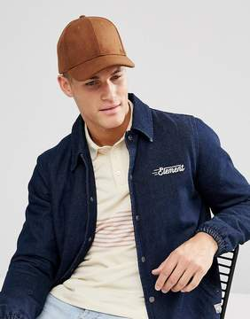 Asos Baseball Cap In Tobacco Melton