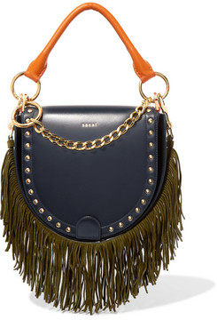 Sacai Horseshoe Suede-trimmed Studded Leather Shoulder Bag - Navy