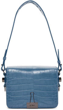 Off-White Blue Croc Flap Bag