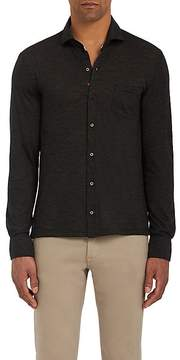 Isaia Men's Mélange Lightweight Wool Jersey Button-Down Shirt