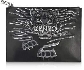 Kenzo Black Leather A4 Geo Tiger Clutch