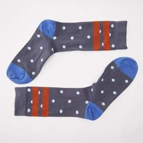 Blade + Blue Navy Blue & Red Polka Dot Stripe Socks