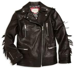 Gucci Girl's Leather Biker Jacket