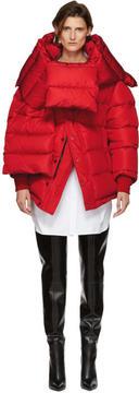 Balenciaga Red Down Swing Puffer Jacket