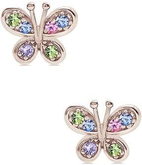 Swarovski Chanteur Jewelry 18K White Gold Plated Sterling Silver Multicolor Crystal Accented Butterfly Stud Earrings
