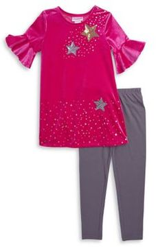 Flapdoodles Little Girl's Two-Piece Velvet Dress and Leggings Set