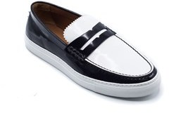 Givenchy Men's Black & White Patent Loafer Slip Ons.