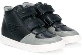 Armani Junior touch strap hi-top sneakers
