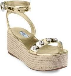 Prada Calzature Donna Leather Flatform Sandals