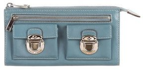 Marc Jacobs Leather Zip Wallet - BLUE - STYLE
