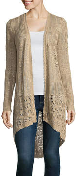 Almost Famous Long Sleeve U Neck Open Front Cardigan-Juniors