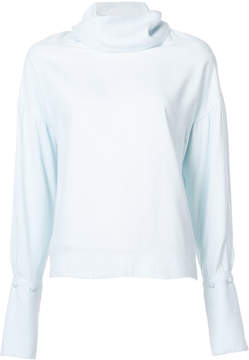ADAM by Adam Lippes Satin back crepe turtleneck blouse