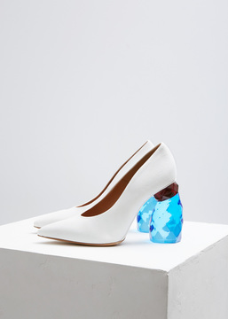 Dries Van Noten White Denim Jewel Heel Pump