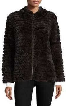 Adrienne Landau Knit Rabbit Fur Zip Jacket