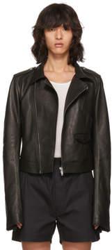 Rick Owens Black Leather Stooges Cropped Bomber Jacket