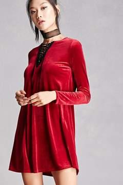 Forever 21 Lace-Up Velvet Swing Dress