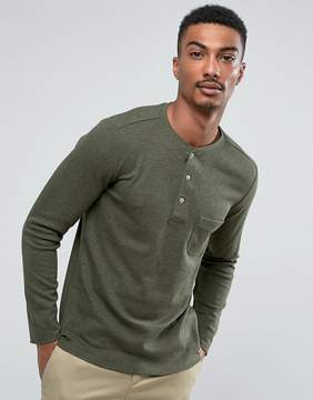 MANGO Man Long Sleeve Top With Buttons In Green