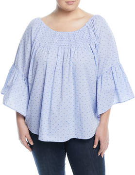 Neiman Marcus Smocked Gingham Clip-Dot Blouse, Plus Size