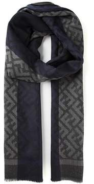 Fendi Men's Blue/grey Wool Scarf.