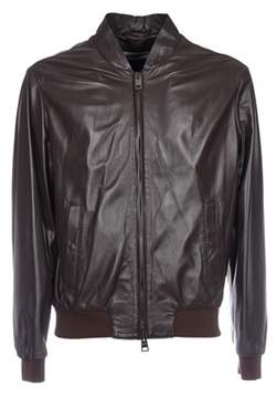 Herno Men's Brown Leather Jacket.