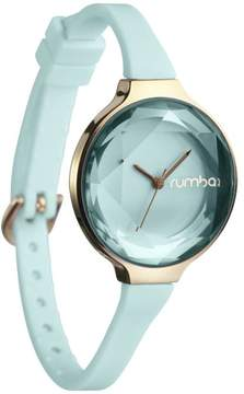 RumbaTime Orchard Mini Goldtone Mint Green Crystal and Silicone Strap Watch