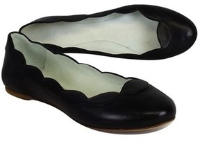 Delman Black Leather Scalloped Flats