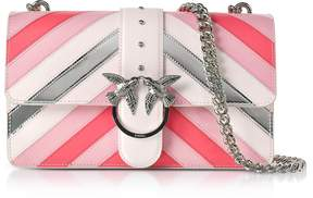 Pinko Love Stripe Intarsio Pink Eco Leather Shoulder Bag
