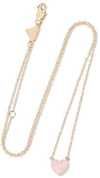 Alison Lou Heart Enameled 14-karat Gold Necklace