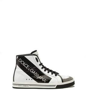Dolce & Gabbana Dolce E Gabbana Men's White Leather Hi Top Sneakers.