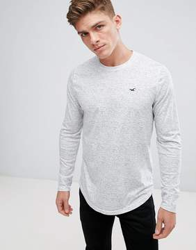 Hollister Long Sleeve Top Crew Icon Logo Slim Fit in Gray Marl
