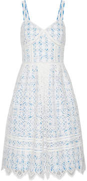 Draper James Pointelle-trimmed Lace And Gingham Cotton-blend Dress - White