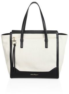 Salvatore Ferragamo Large Amy Leather-Trim Canvas Tote