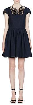 Fendi Women's Pearl Bow Denim Dress