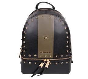 MICHAEL Michael Kors Rhea Medium Stars Studded Backpack Black/olive - BLACK - STYLE