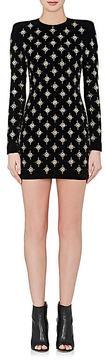 Balmain Women's Embellished Stretch-Cotton Velvet Minidress