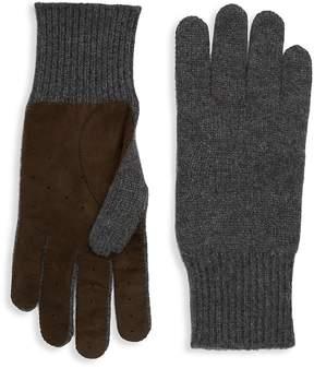 Brunello Cucinelli Men's Cashmere Leather Gloves