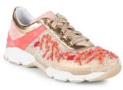 Rene Caovilla Embellished Leather Sneakers