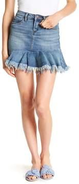 Blank NYC BLANKNYC Frayed Ruffle Hem Denim Skirt