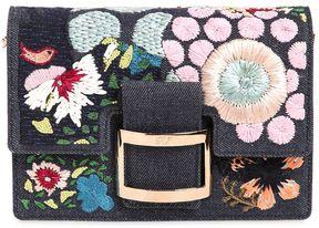 Micro Viv Raffia Flowers Denim Clutch